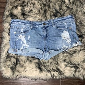 Express Jeans Distressed Cuffed Shorts